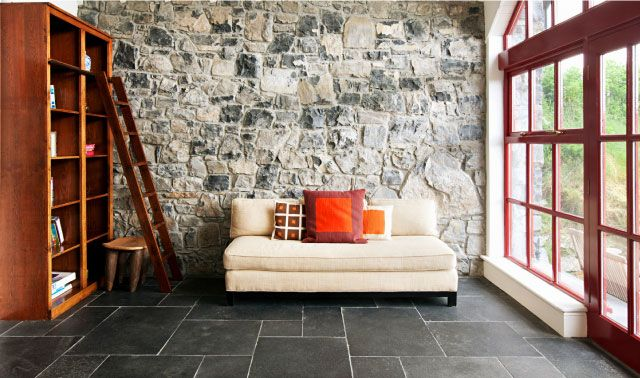 Stone wall and floor in cottage